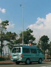 電波測定用伸縮ポールシステムの使用例