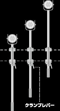 LED照明ポールシステム/伸縮ポール/ユアサ工機